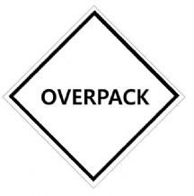OVERPACK   Diamond Handling Label 100mm  x 100mm - Rolls of 250